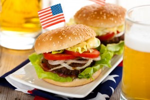 Burger med amerikansk flag